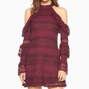 NWT Parker Windham Ruffle Lace Mauve Wine Dress